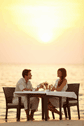 Honeymoons Couple Romantic Sunset Dinner on Beach